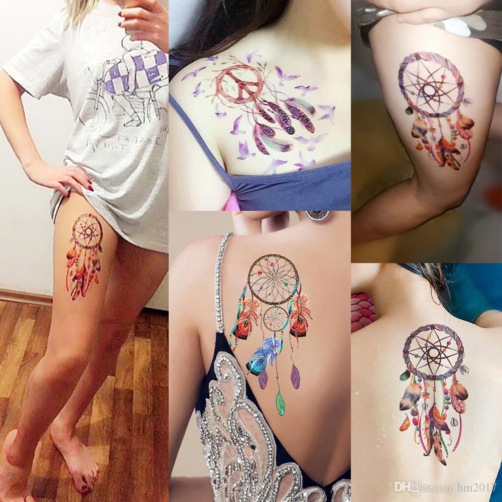 Dreamcatcher Decal 60 Designs Waterproof DIY Tattoo Sticker Women Body Art Dream Catcher Indian Feather Temporary Tattoo