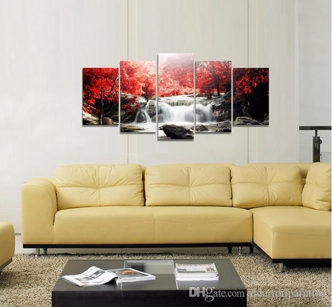 5 The Panel Wall Art di mangrovie e cascate Quadri di pittura Stampa su tela Immagine la casa Decorazione moderna