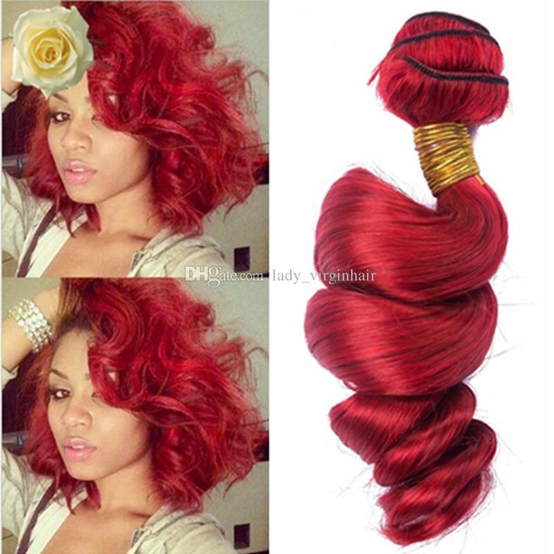 New Arrival Brazilian Red Hair Loose Wave Wavy Hair Weave 8a