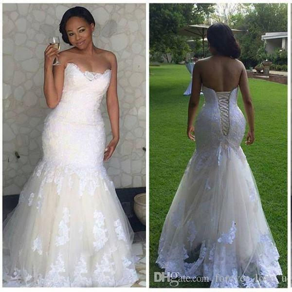 Gorgeous Mermaid Dream Dress Wedding Plus Size Strapless Corset Back ...