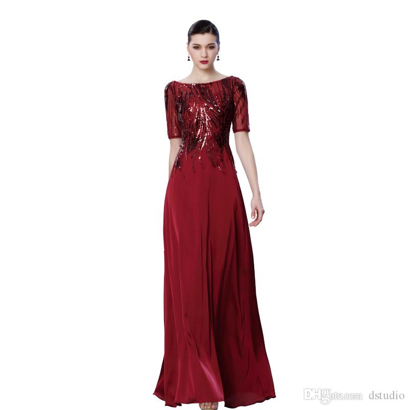 2017 Fall Royal blue,Burgundy Mother of the Bride Dresses Sheer Neck with Shining Sequins Beads Half Sleeves Zipper Back Maxi Formal Party