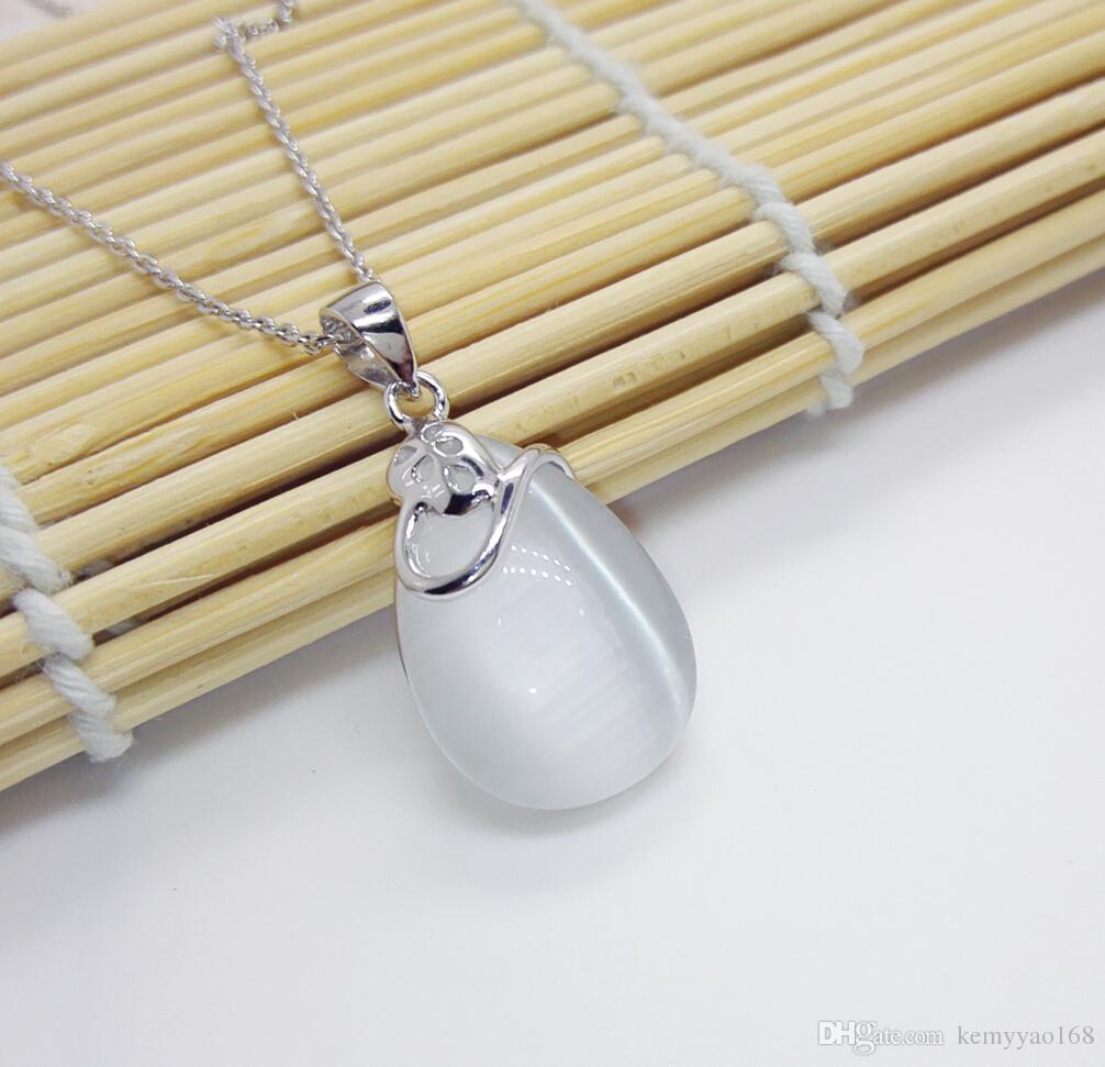 Di modo del pendente Opal fine dei monili 100% solido argento 925 ciondolo con White Opal pietra YH2024
