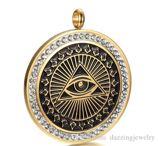 Retro silver gold black enamel stainless steel men's evil eye masonic free mason AG emblem pendants