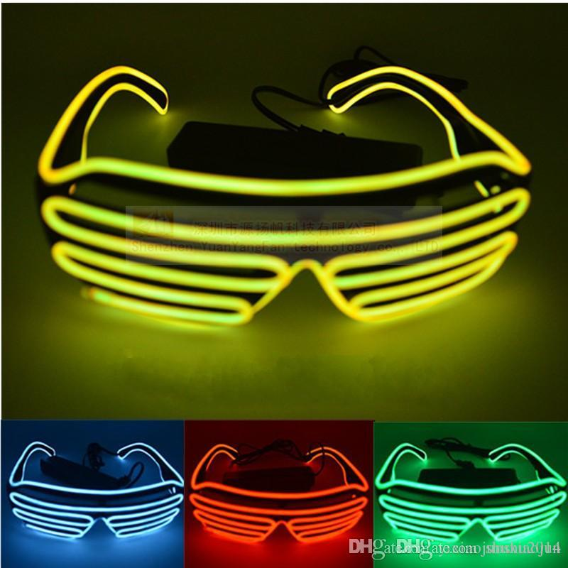 5da42688a503 Simple El Glasses El Wire Fashion Neon LED Light Up Shutter Shaped Glow Sun  Glasses Rave Costume Party DJ Bright SunGlasses Wholesale Led Toys Best Led  ...