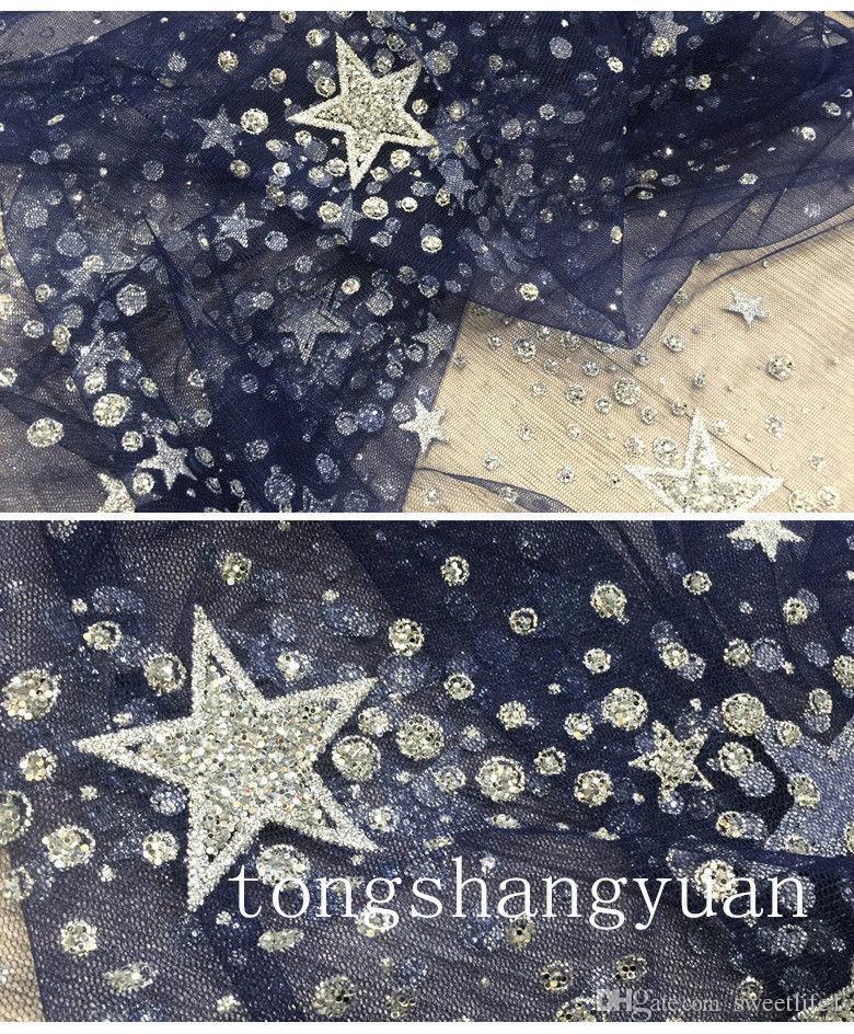 2019 Zuhair Murad Abiye giyim Sparkly Boncuklu Kristal Bir Çizgi Lacivert Özel Durum Elbise Küçük Yıldız Ünlü Elbisesi Custom Made