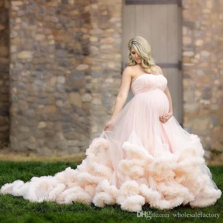 2017 Pink Maternity Long Cloud Strapless Pregnant Wedding Dresses Luxury Long Train Plus Size Bridal Gowns Western Country Wedding Dresses