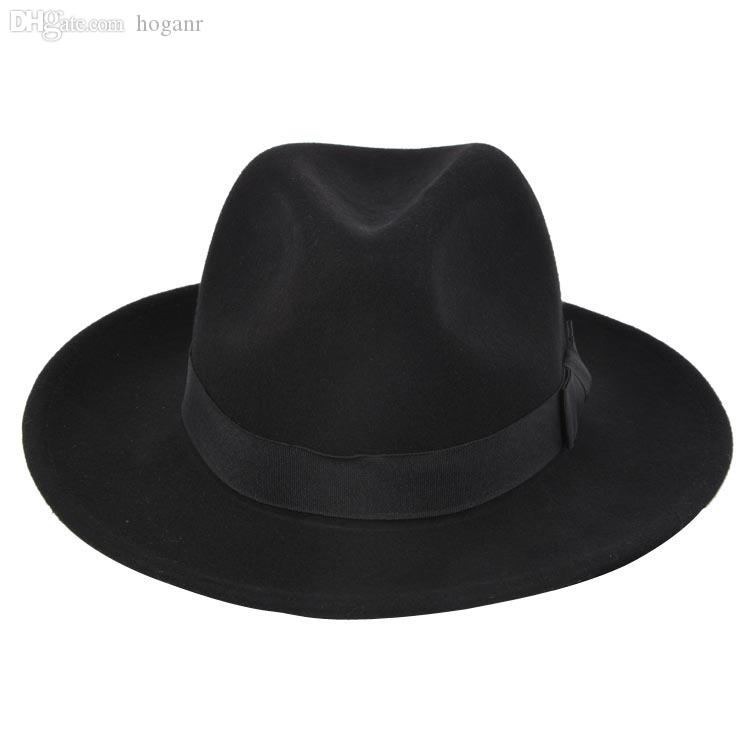 40eafed285534 2019 Wholesale High Quality Wide Brim Fedora Men Black Jazz Hat Flat Brim  Felt Cap Autumn Winter Trilby Wool Bowler Hats For Women Jewish Hat From  Hoganr