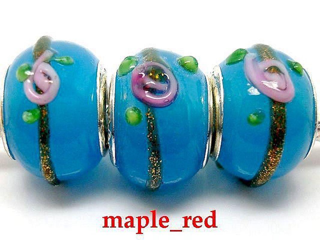 Mixed Beautiful color Flower Design Lampwork Glass Beads Fit European Bracelets Wholesale in Bulk Low Price