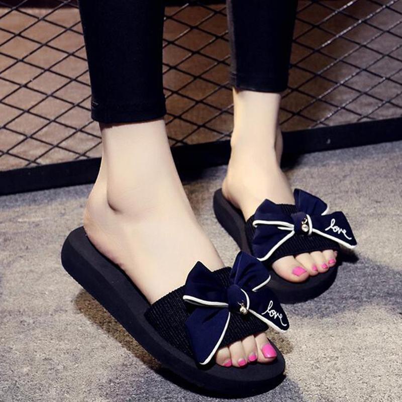 2017 Women Sandals Fashion Bow Summer Sandals Wedges Flip Flops Platform Slippers Shoes slippers zapatillas chinelo sandalia k1