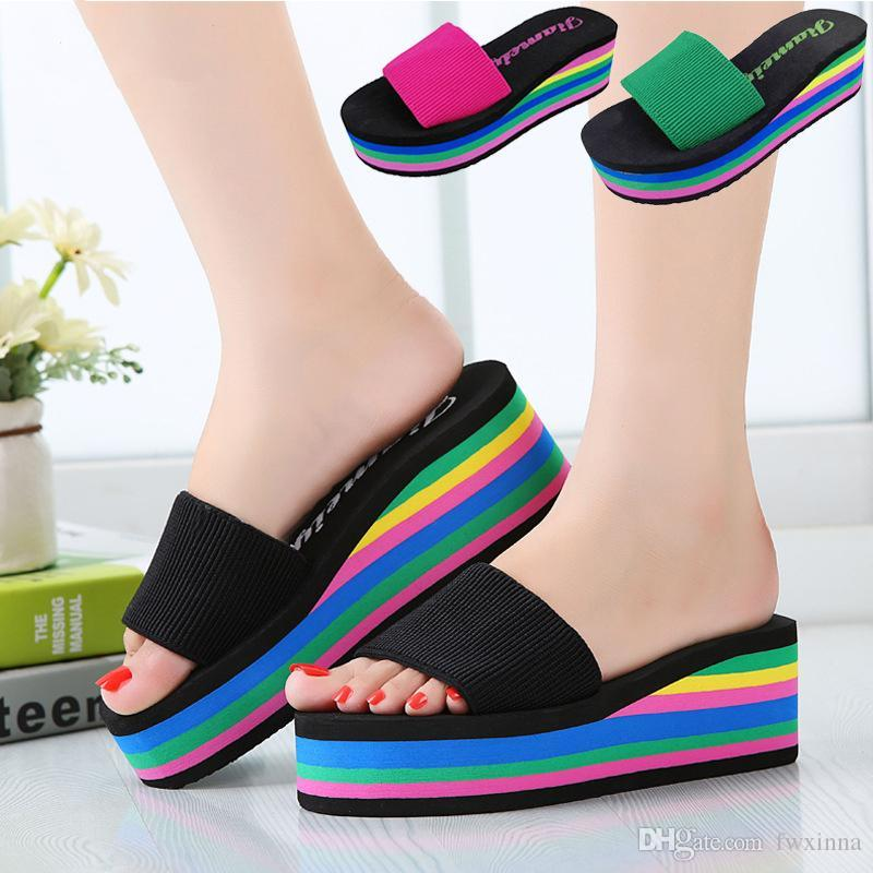 New Fashion Wedge Heels Sandals Slippers Rainbow Non Slip Thick ...