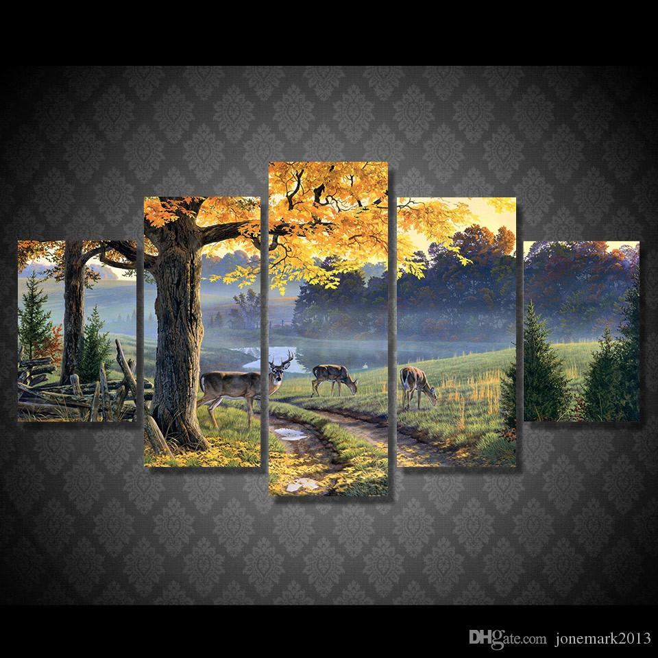 HD Printed Autumn lake animal deer Painting Canvas Print room decor print poster picture canvas /ny-5973