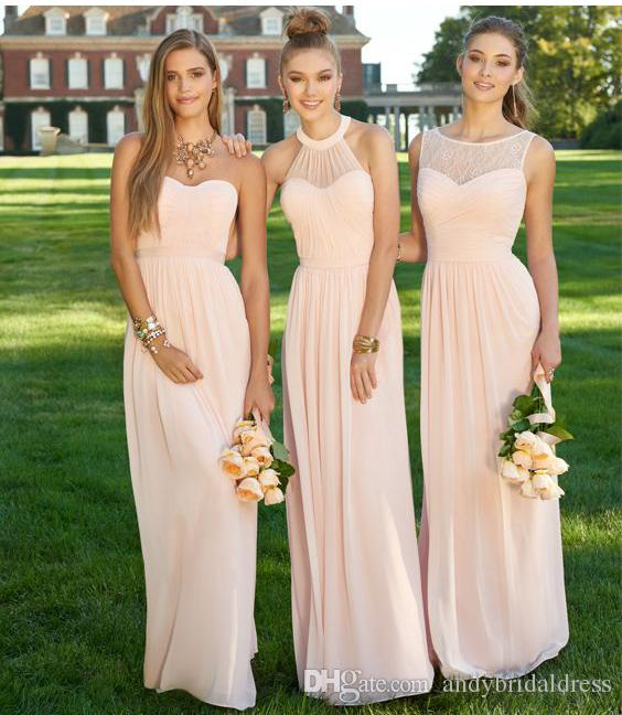 Outdoor Blush Chiffon Country Bridesmaid Dresses Long Sheath Ruched Empire  Waist Party Gowns For Wedding 50s Style Bridesmaid Dresses Aqua Blue  Bridesmaid ... a47784185e7b