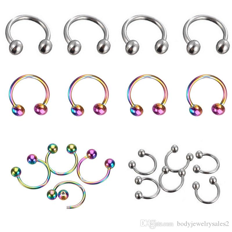 Nose Ring 1.2*8*3mm ball surgical Steel circular piercing plated titanium colors piercing horseshoe ring
