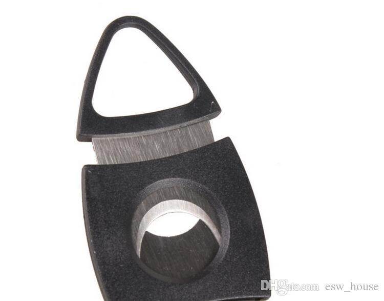 Nuevo bolsillo de acero inoxidable doble hoja cortador de cigarro tijeras mango de plástico herramientas portátiles de color negro envío gratis