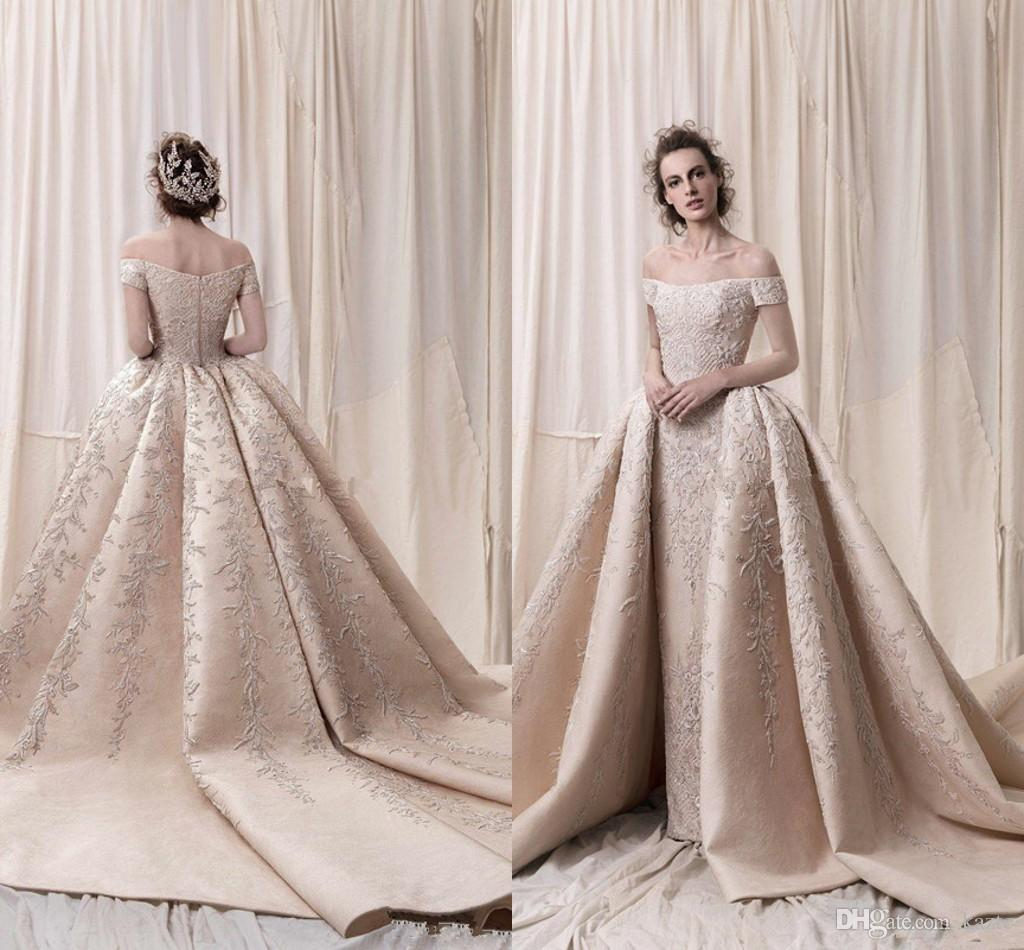147fc3e1a7418 Arab Dubai Off The Shoulders Ball Gown Heavily Embroidery Wedding Dresses  2018 Krikor Jabotian Cathedral Train Castle Bridal Wedding Gowns Big Ball  Gown ...
