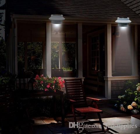 Солнечная белая круглая светодиодная лампа водонепроницаемая на открытом воздухе Оптический датчик освещения освещения Освещение Освещение солнечной энергии Свет Лампара Lite 4 шт.