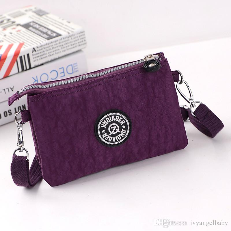 Three Layers Zipper Purse Waterproof Nylon Wristlet Bag Cell Phone Pouch with Shoulder Strap Crossbody Message Bags