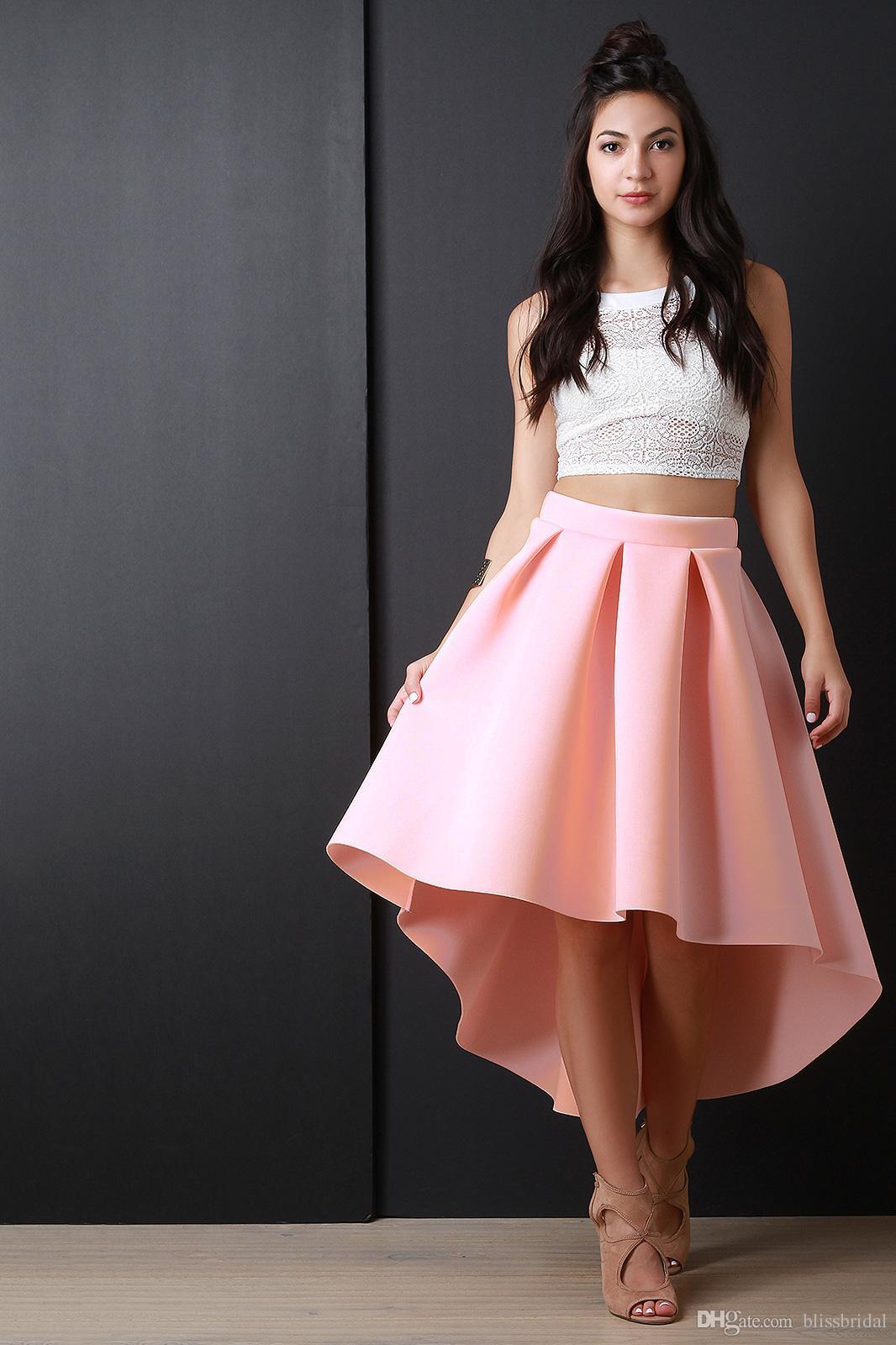 Cor rosa Sexy Tafetá Meninas Saias Hi-lo Nova Chegada Saias para Meninas Custom Made Gogerous Pregas Saias Império