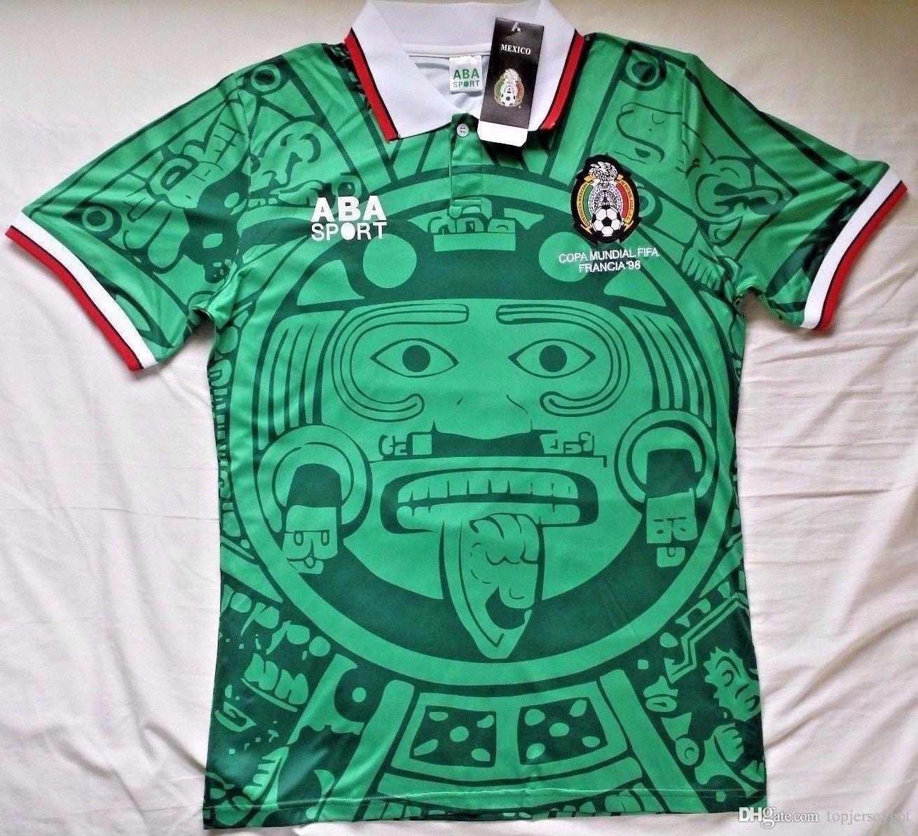 95b29a99f wholesale Mexico 1998 Retro Soccer jersey green vintage Football Shirt size  size small Medium Large xl