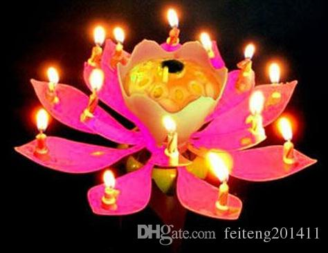 2016 Lotus Flower Music Candle Beautiful Blossom Birthday Party Cake Sparkle Topper Scented Christmas Candles Jar