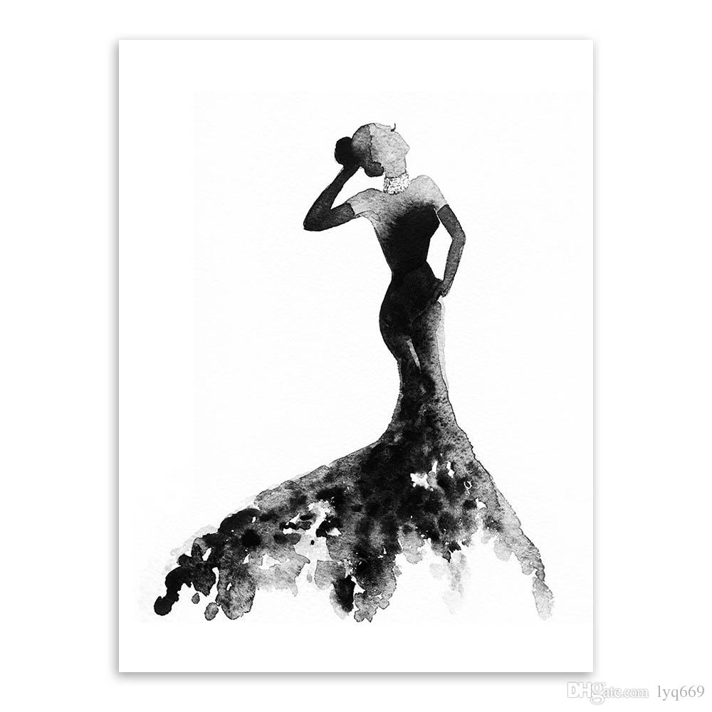 Modern decoration nordic black white fashion model large canvas art print poster wall picture painting beauty girl room home decor no frame canada 2019 from