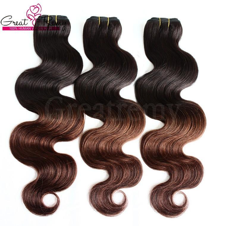 Greatremy® 8A 3 adet / grup Ombre Dip Boya Iki Ton # 1B / 4 malezya Virgin İnsan Saç Uzantıları İnsan Saç Dokuma Atkı Dalgalı Vücut Dalga