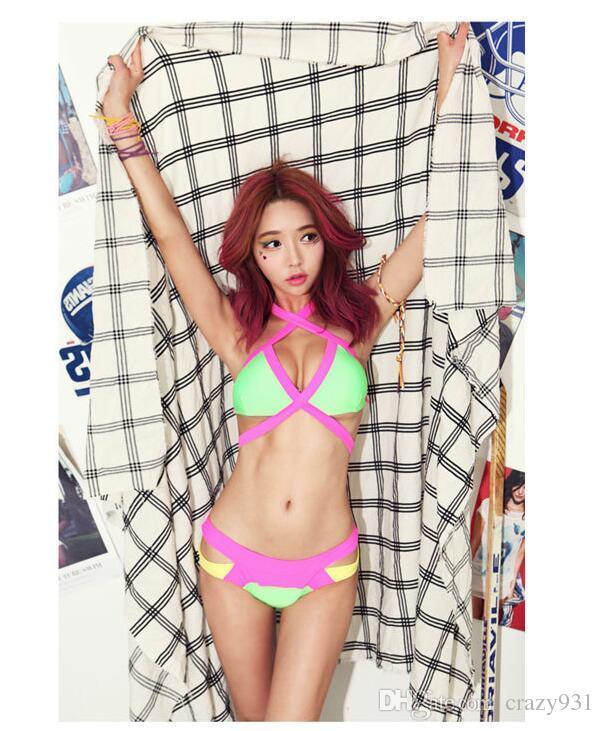 2016 Estilo Coreano Swimwear Biquíni Correspondência de Cor Bandage Set Swimsuit Para As Mulheres Por Atacado E Frete Grátis Sexy Biquínis de Banho
