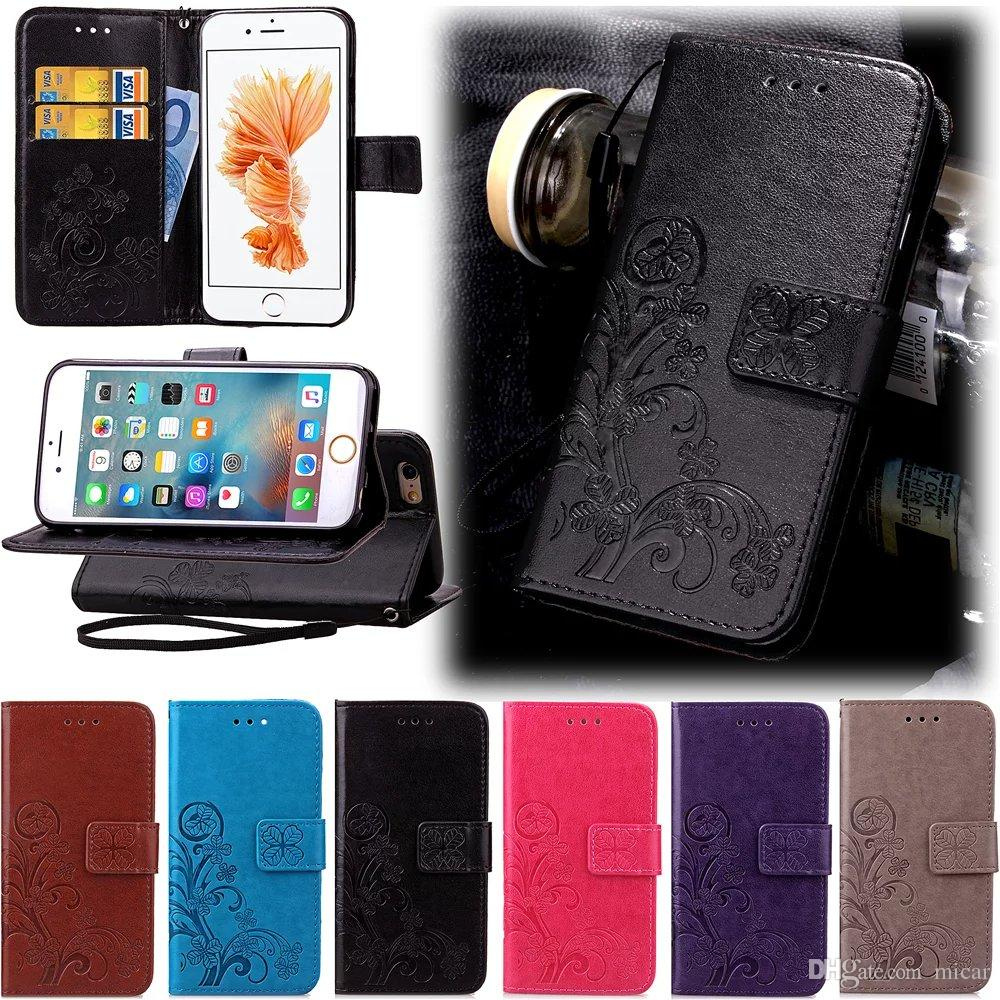 luxury pu leather case fashion lucky grass design cover for huawei