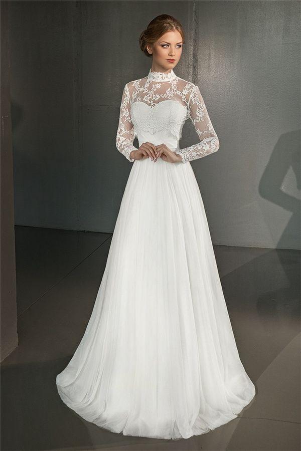 Großhandel 2016 Fall Vintage White Tulle Backless Brautkleider Mit ...