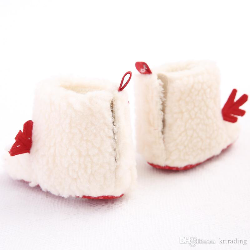 Baby warm Xmas elk shoes Cute white deer embroidery Santa boots infants prewalkers Christmas fleece boots for boys girls