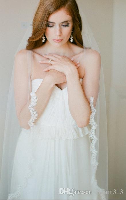 Top Quality Best Sale Fingertip White Ivory Lace Applique veil Bridal Head Pieces For Wedding Dresses