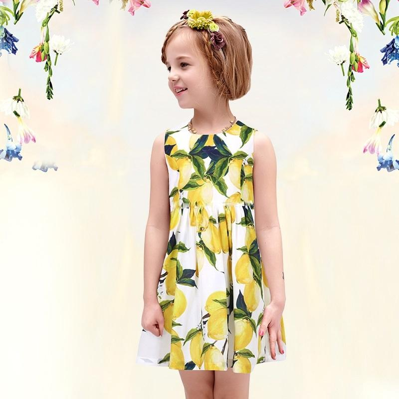 f140761cd759 2019 Prettybaby Girls Summer Dress Children Lemon Floral Printed ...