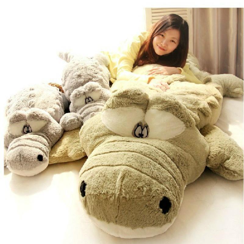 Creativo sovradimensionato carino coccodrillo sdraiato sezione peluche cuscino tappetino peluche a mano bambola farcito giocattolo cartone animato peluche giocattoli bambini premio regalo