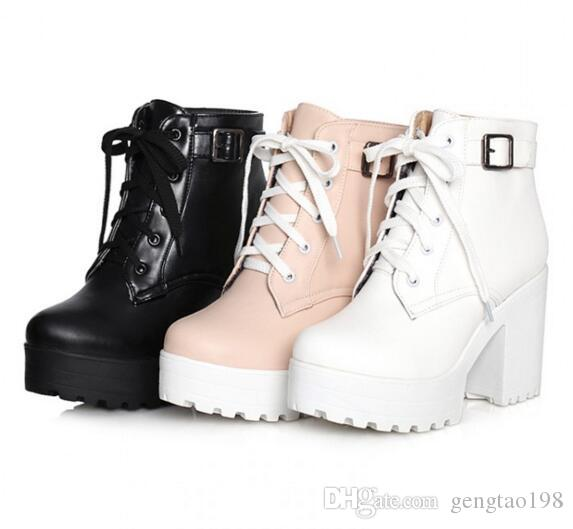 Womens Punk Chunky Heel Platform Lace Up Buckle Strap Ankle Boot ...