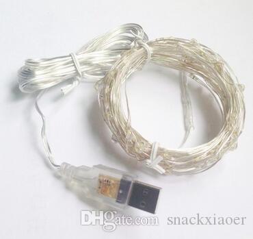 2M 20LED 5M 50LED 10M 100LED USB Luces de cadena de cobre Banquete de boda Concierto Cocina Decoración Luces Luces LED de cobre flexible