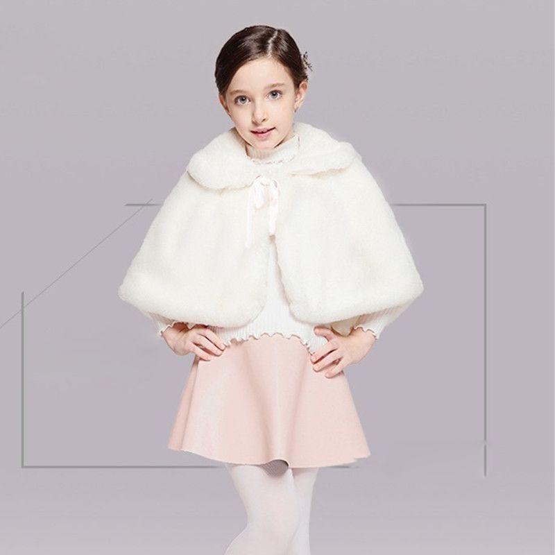 f8705e6e845 White Flower Girl Wedding Shawls Christmas Costume Winter Wear Kids  Capes  Lovely Girls  Accessories In Stock