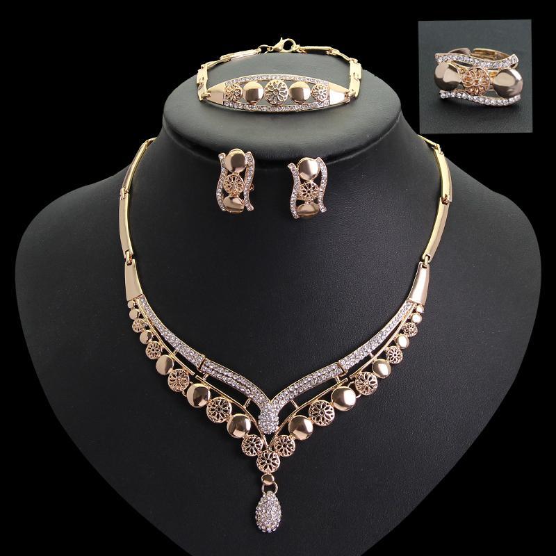Lüks mozaik kristal Takı Seti 18 k Altın Kaplama Kolye Küpe düğün gelin parti Takı CA115 Için Setleri
