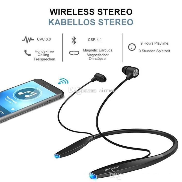 Newly Bluetooth Earphone Wireless Headphones CRS4.0 with Magnet Attraction Slim Neckband Wireless Headphone Sport Earbuds with Mic