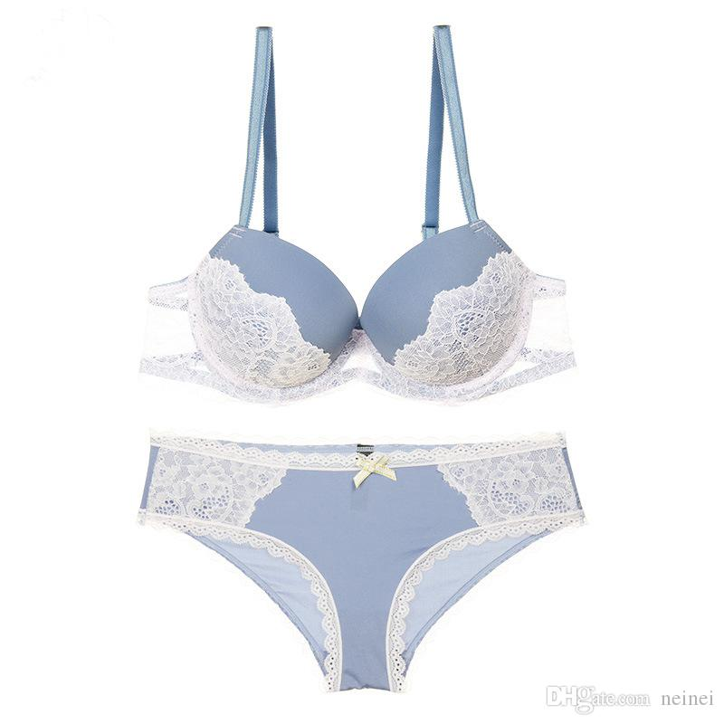 a221825dcd Fashion Sexy Lace Bra Set Push Up Lingerie Women Underwear Sets Intimates  Thick Thin Cup Contrast Colour Gathering Bra Briefs UK 2019 From Neinei