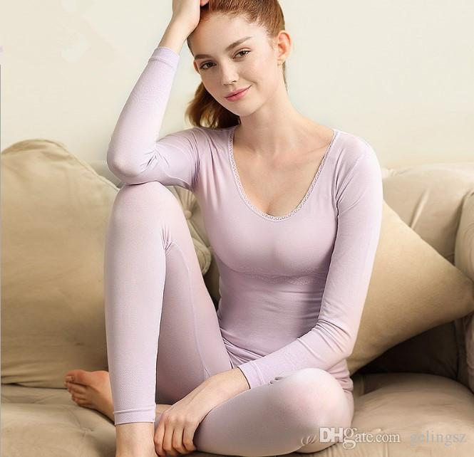 Sexy Autumn and Winter Thermal Underwear Sets Women Viscose Thin Sweater Under Shirt Thermal Bodysuits Tight Body Fitness Top,Bottom
