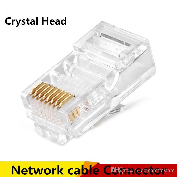 8p8c rj45 modular plug connector for network cable patch cable connectors crystal head high quality Fiber Optic Cables and Connectors