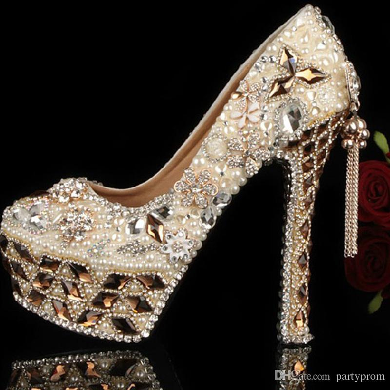 f5b8806541e8e Gorgeous Shoes Luxury Elegant Rhinestone Crystal Wedding Bridal Dress Shoes  Jeweled Beaded Women High Heels Evening Prom Party Shoes 2 Inch Wedding  Shoes 3 ...