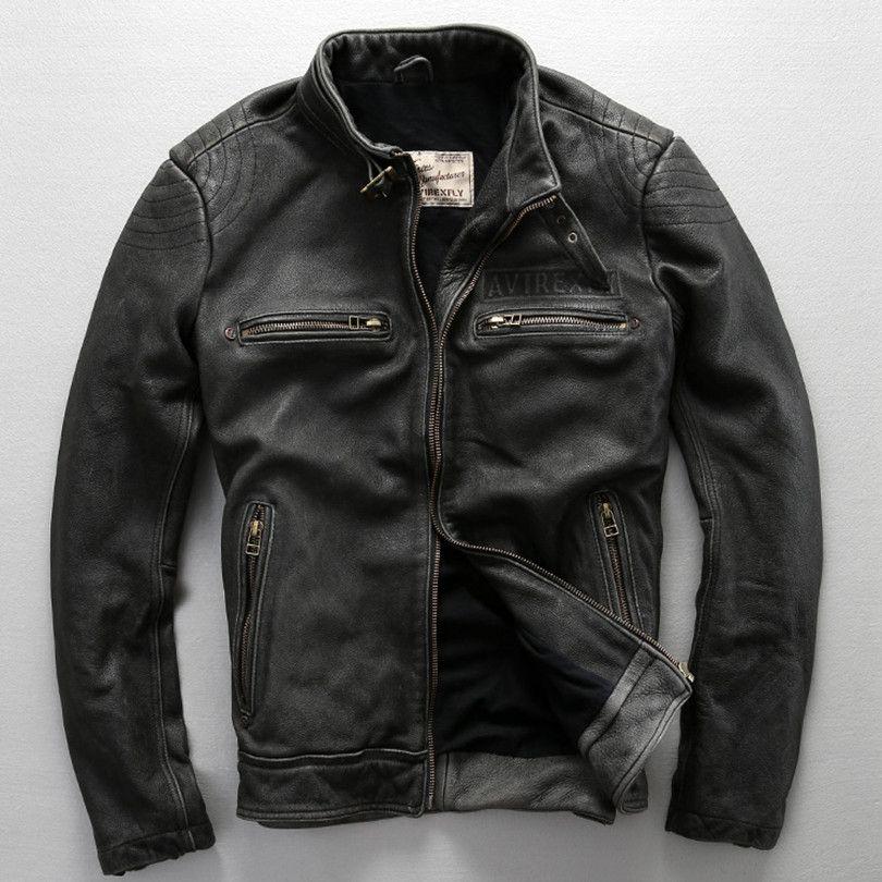2017 Avirex Fly Pattern Genuine Leather Jacket Men Harley Style ...