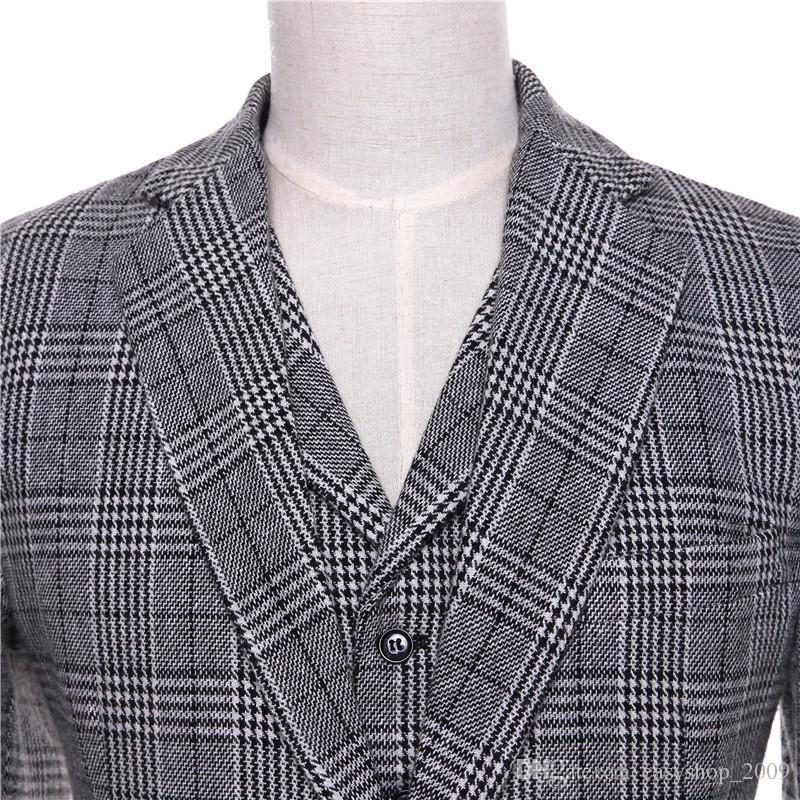 New Mens Casual Blazers Jacket Light Gray Plaid Pattern Wool Slim Fit England Business Wedding Mens Suit Coat Size XS-4XL Custom