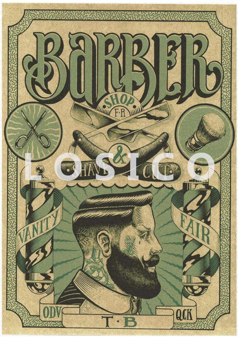 Vintage Tattoos Patterned Posters Kraft Paper Interior