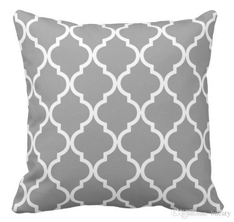 Modello classico quadrifoglio grigio e bianco cuscino 50% cotone e 50% lino colore materiale come mostrato 16x16inch 18x18 inch 20x20 inch