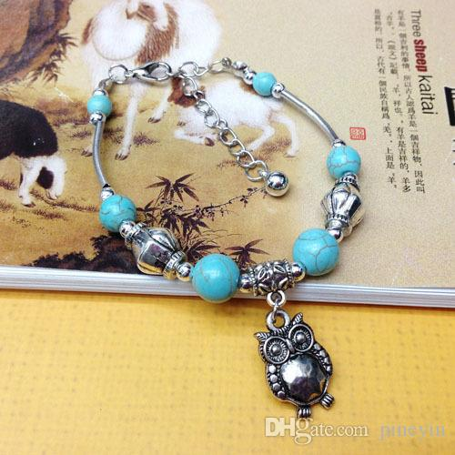 wholesale Turquoise bracelets fashion jewelry green turquoise owl charm bracelets retro bracelet silver plated TB0003