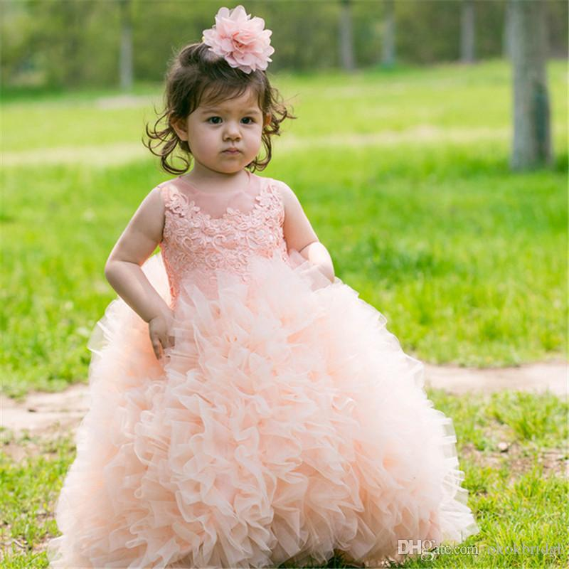 Vestidos Primera Comunion 2019 Free Shipping Toddler Glitz Pageant Dresses Lovely Flower Girl Dress Ball Gown