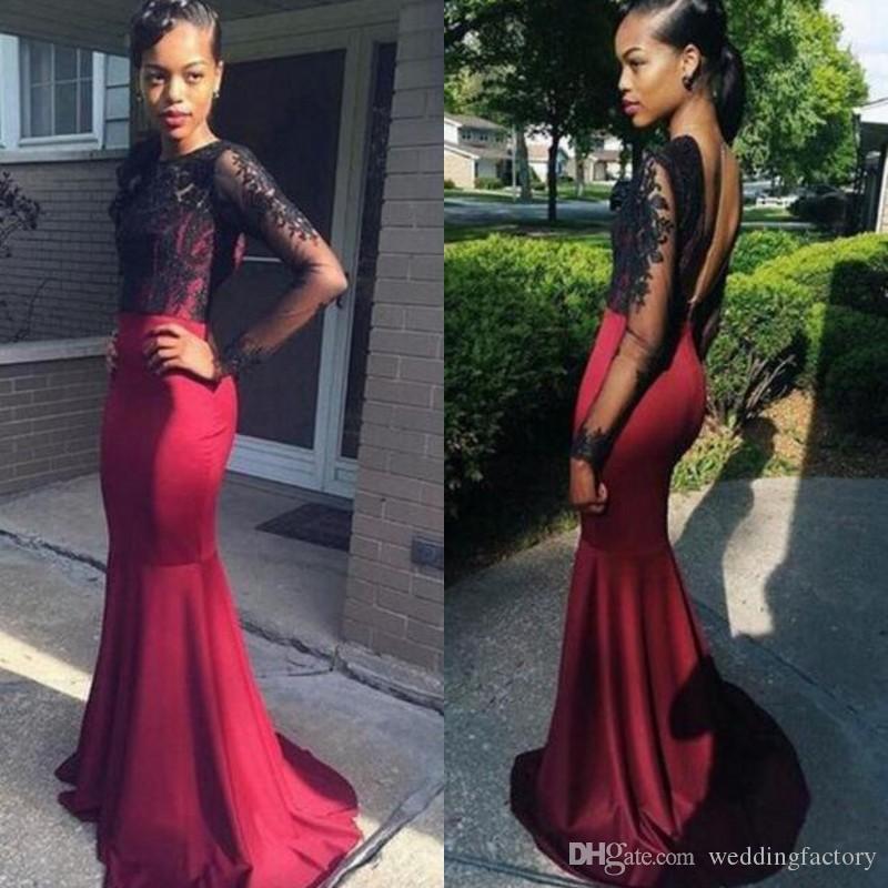 897330cac38b Arabic Burgundy Prom Dress Sheer Jewel Neck Black Lace Appliques ...