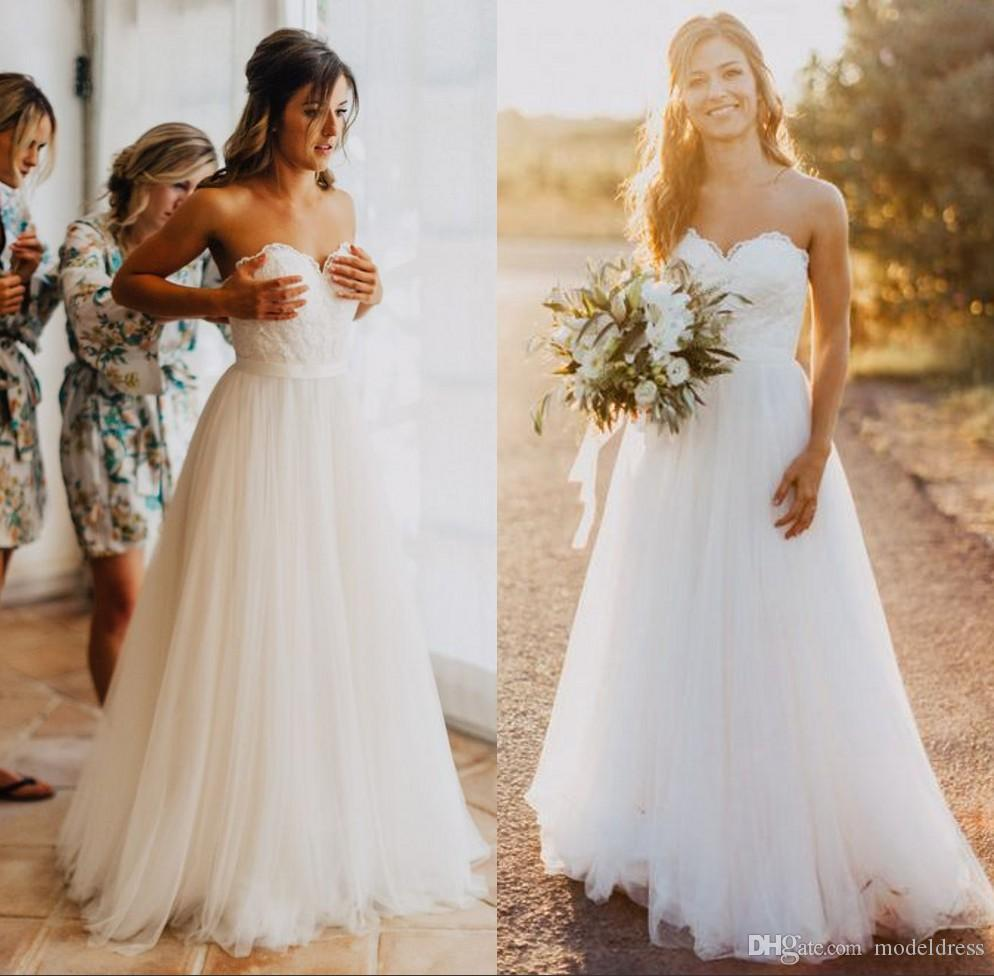 New Romantic Beach Wedding Dresses 2019 Sweetheart Lace Top A Line Simple Fairy Bohemian Country Boho Bridal Gowns Cheap Custom Made